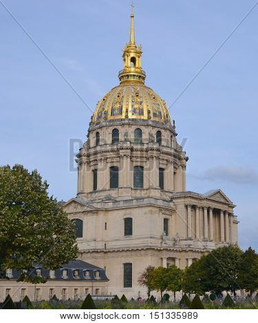 PARIS, FRANCE - MAY 26: Les Invalides hospital and chapel dome on May 26, 2012, France. Les Invalides as the burial site for some of France's war heroes, notably Napoleon Bonaparte.