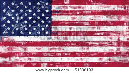 united states flag painting vector background illustration