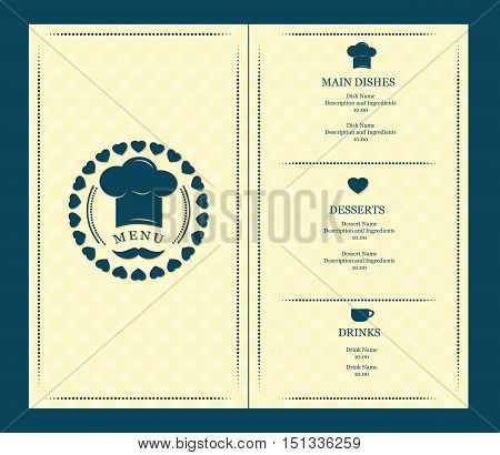menu cover template with chef hat and mustache creative vector design illustratio