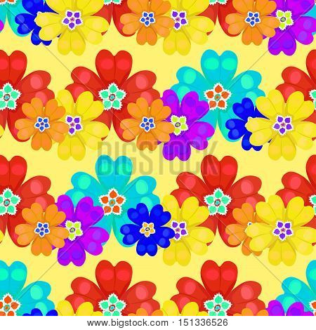 Seamless Pattern Spring Polyanthus Primula Flowers On A Yellow Background. Vector Illustration