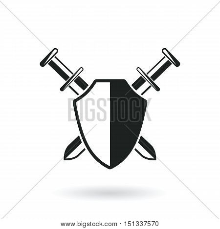 crossed swords with shield protection security logo abstract vector illustration isolated on white