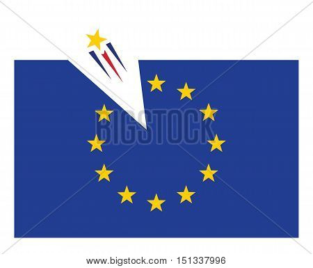 one star flying out from europian union flag vector illustration
