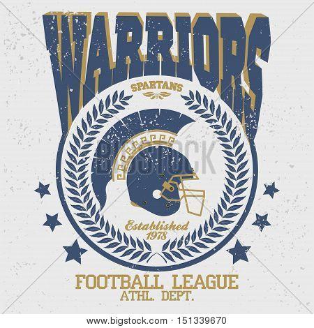 Football t-shirt emblem with laurel wreath, Spartan Warrior, gladiator icon. Vector