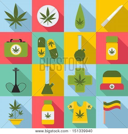 Marijuana icons set. Flat illustration of 16 marijuana vector icons for web