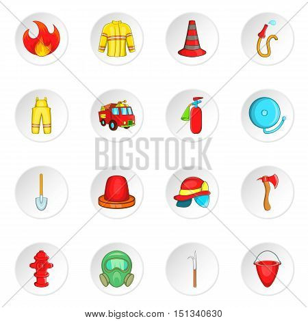 Firefighting icons set. Cartoon illustration of 16 firefighting vector icons for web