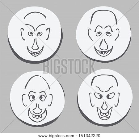 expressive ugly funny men face set hand drawn joke vector illustration