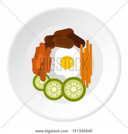 Bibimbap korean dish icon. Flat illustration of korean dish vector icon for web design