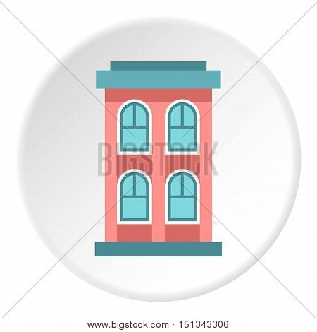 Two storey house with large windows icon. Flat illustration of two storey house with large windows vector icon for web