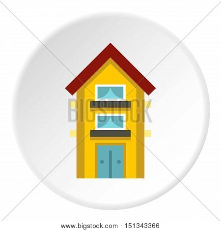 Two storey house with balconies icon. Flat illustration of two storey house with balconies vector icon for web