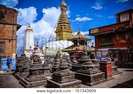 Different Views Of Stupa Trashy Shyam Ponat (swayambhunath) Or Monkey Temple, Nepal.