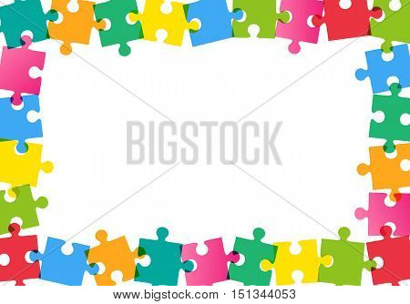 Colorful jigsaw puzzle frame on white background