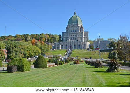 MONTREAL CANADA OCTOBER 04 2016: Saint Joseph's Oratory of Mount Royal is a Roman Catholic basilica on the west slope of Mount Royal in Montreal, Quebec, Canada.