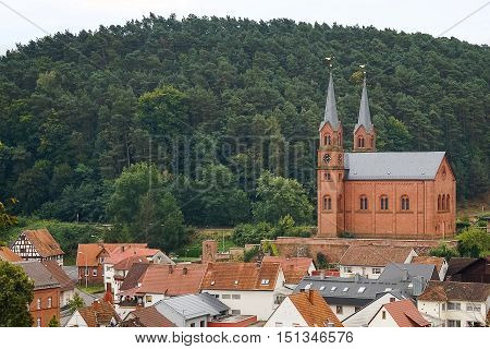 Traditional protestant church in small german town