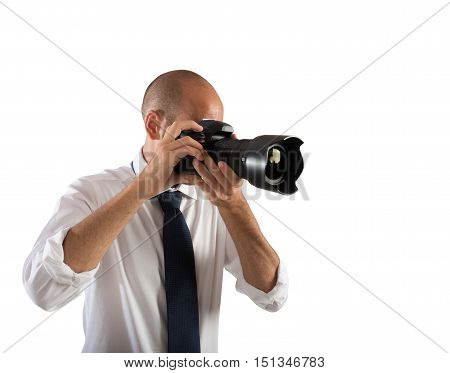 Professional photographer at work in a wedding