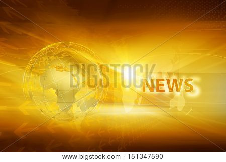 Graphical News Background with World Map and Eart Globe