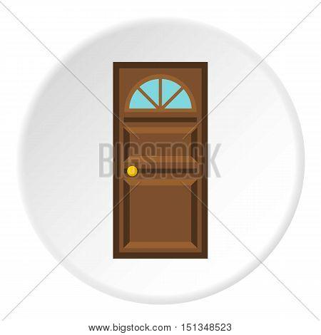Wooden entrance door icon. Flat illustration of wooden entrance door vector icon for web
