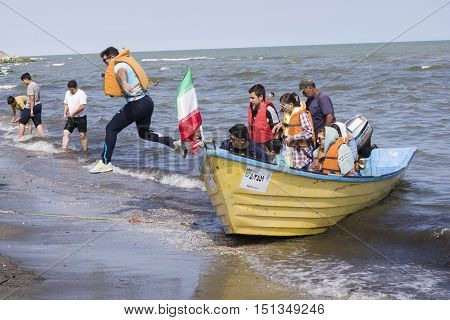 Astara- IRAN-September 22 2016 Jumping off A Boat Into the Caspian Sea Shore Gilan Province.