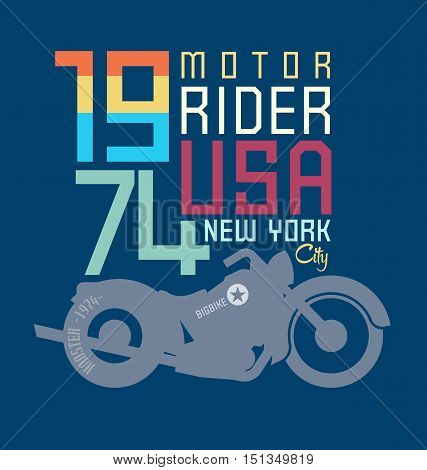 typography design motor cycle classic, motor sport.