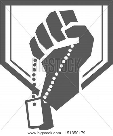 Illustration of a hand of a soldier clutching holding dogtag viewed from front set inside shield crest done in retro style.