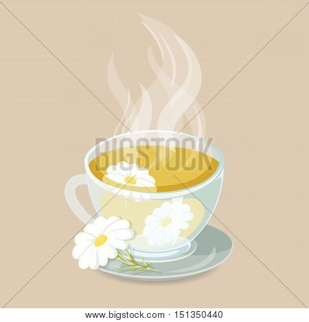 Herbal tea with chamomile. Healhty hot drinks icon. Cap of herbal tea with chamomile vector illustration. Hot herbal drinks.Chamomile tea beverage