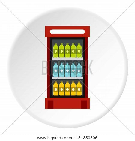 Fridge with drinks icon. Flat illustration of fridge with drinks vector icon for web