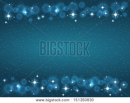 Frame with stars on the dark blue background, sparkles golden symbols - star glitter, stellar flare. Vector illustrations