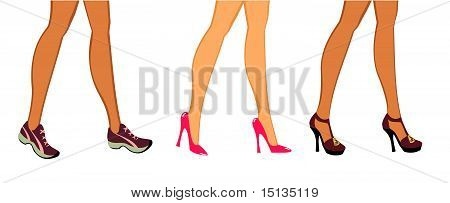 Female Feet In Different Shoe