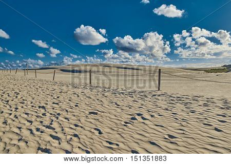 Endless Sandy Dunes of Leba on Baltic Sea Shore in Poland