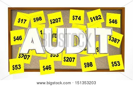 Audit Tax Review Accounting Sticky Notes 3d Illustration