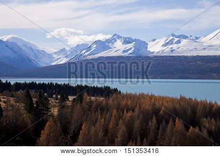 Lake Pukaki with Mt Cook National Park in the background MacKenzie District Canterbury South Island New Zealand.