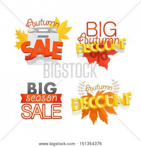 Season sale banners set isolated on white. Different sale banners vector collection