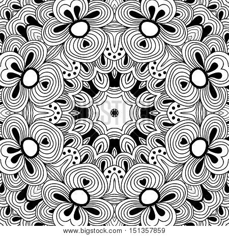 Uncolored symmetric tracery indian flower for colouring. Can be used as adult coloring book, coloring page, card, invitation. Sacred geometry