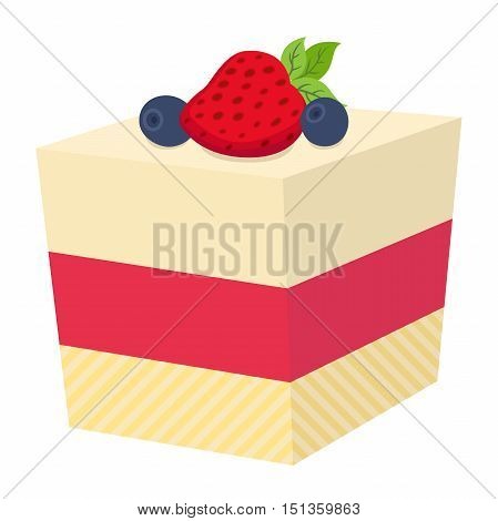 Cake with berries cupcake with strawberry and blackberry. Jelly cheesecake. Bakery market illustration in cartoon flat style.