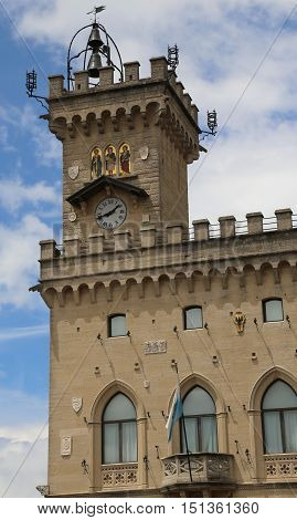 Clock Tower With Mosaics In The Palace Of The Government Of San