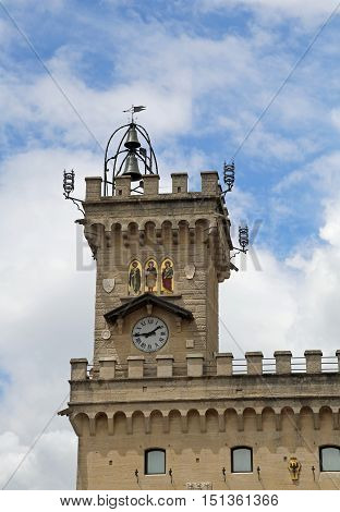 Tower Of Public Palace Called Palazzo Pubblico Of San Marino