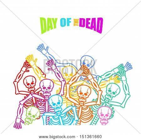 Day Of The Dead Multicolored Skeleton. Color Skull. Dead Background For National Holiday In Mexico.