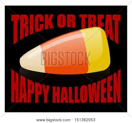 Trick Or Treat. Happy Halloween. Candy Corn. Sweets On Plate. Traditional Treat For Terrible Holiday