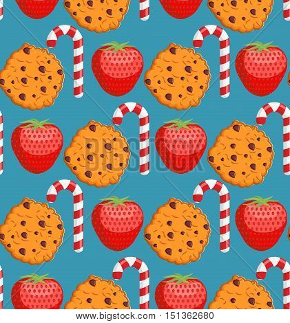 Sweet Pattern. Cookies And Mint Stick Ornament. Strawberry Background. Peppermint Christmas Candy. D