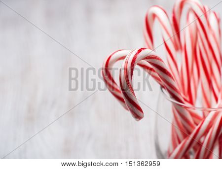 Glass  With Christmas Candy Canes