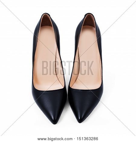Top view of new pair of black stylish shoes