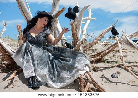 fantasy crow whispering woman in the desert