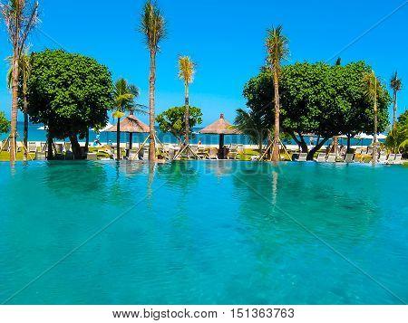Bali Indonesia - April 09 2012: The swimming pool and park in Ayodya Resort Bali at Nusa Dua Bali Indonesia