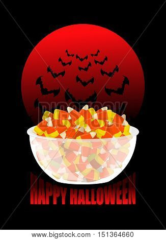 Happy Halloween. Bowl And Candy Corn. Moon And Bat. Sweets On Plate. Traditional Treat For Terrible