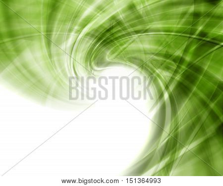 Abstract Modern Green Waved Background On A White Background