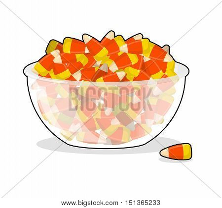 Bowl And Candy Corn. Sweets On Plate. Traditional Treats For Halloween