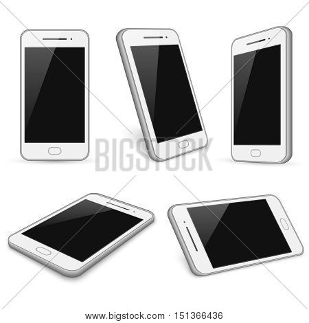 Realistic white smartphone, cell phone vector mockups isolated on white background. Device with touch screen illustration
