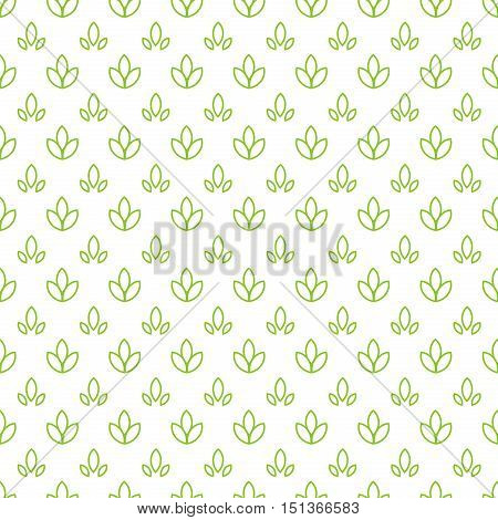 Simple seamless organic wallpaper with a pattern of nature green leaf in a linear, minimal style. Good for nature wallpaper, nature packaging, nature invitations, minimal background, scrap-booking.