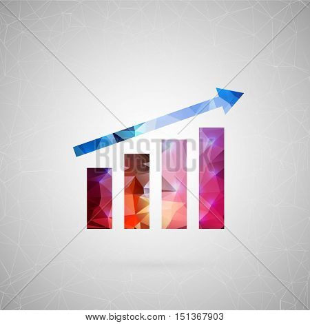 Abstract creative concept vector icon of graph. For web and mobile content isolated on background, unusual template design, flat silhouette object and social media image, triangle art origami.