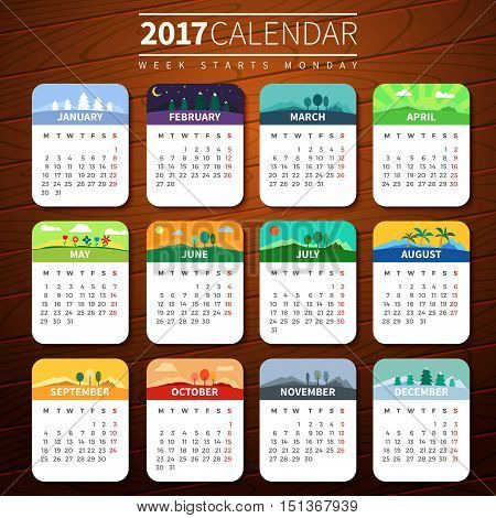 Calendar for 2017 on Wooden Background. Week Starts Monday. Vector Template with seasons. For web and print design. Vector illustration. Vertical orientation. Every month has own illustration or icon