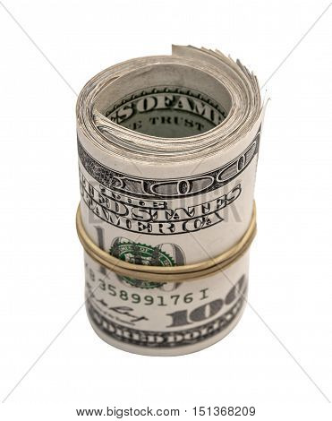 Hundred dollar rolled up on white background